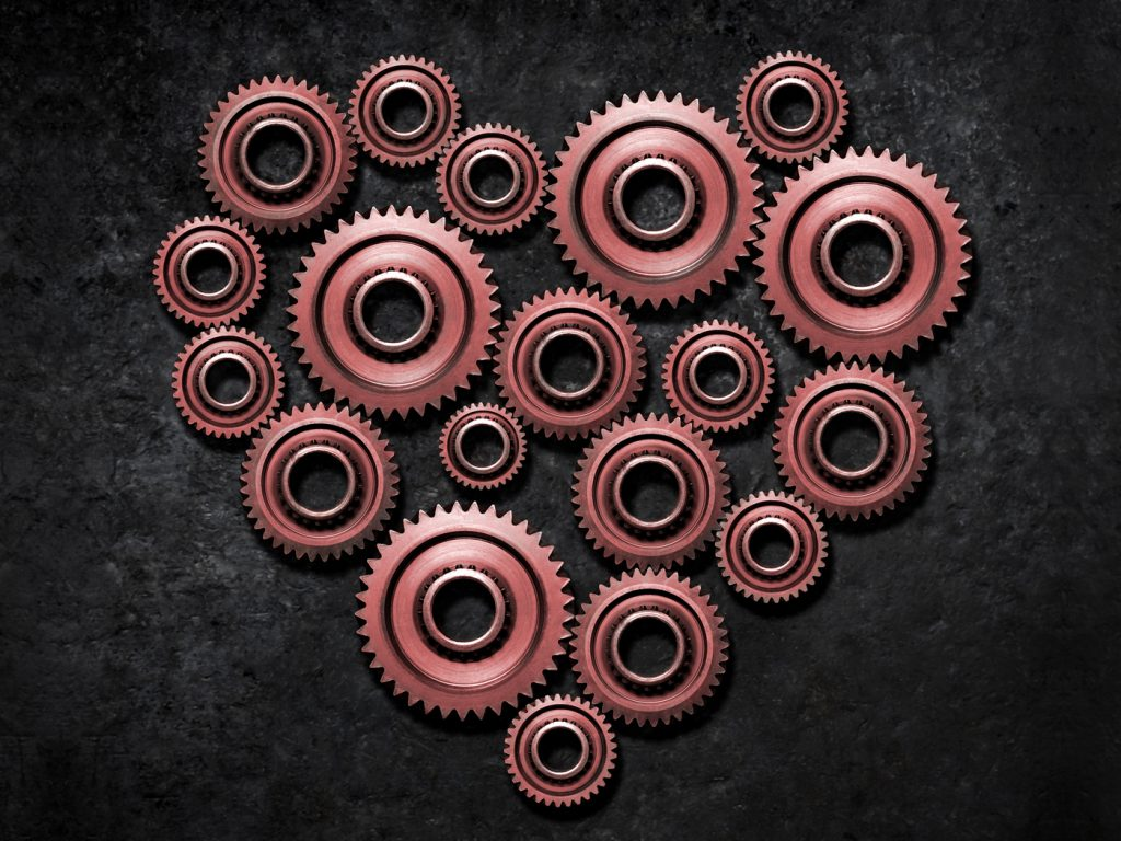illustration of heart using gears