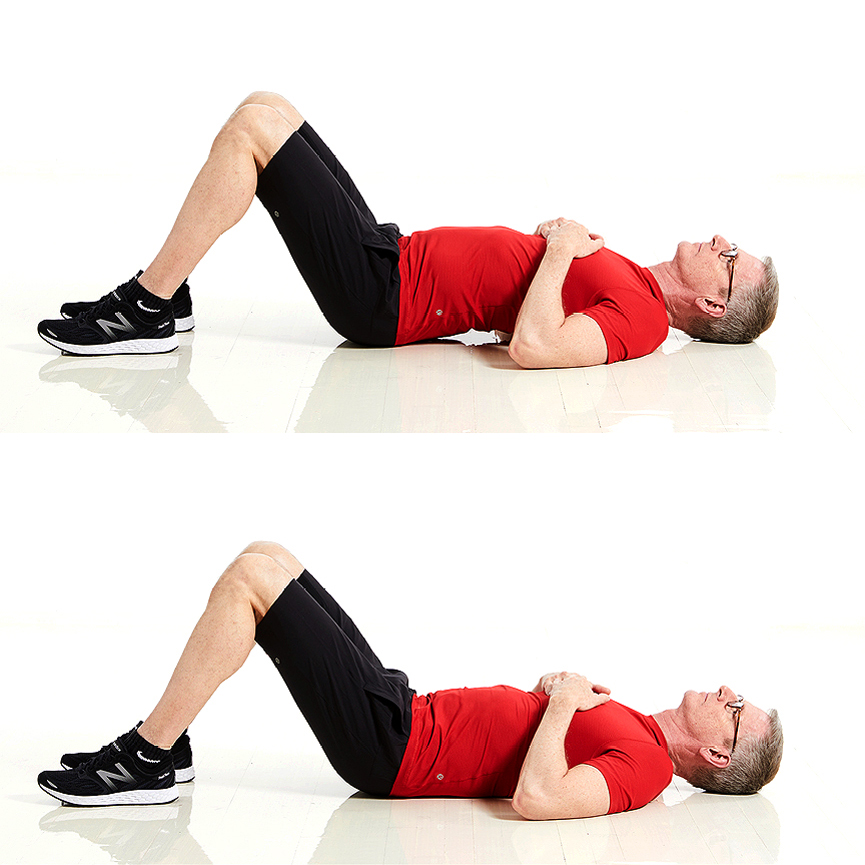 man doing pelvic tilt exercise