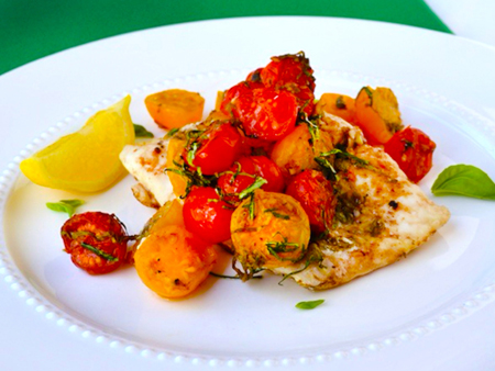 Halibut en Papillote with Cherry Tomatoes, Capers, and Garlic